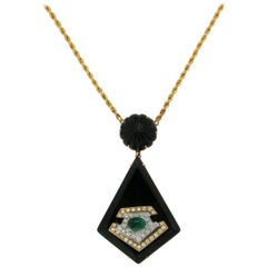 Onyx Yellow Gold Pendant Necklace