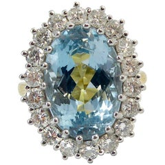 8.91 Carat Blue Topaz and Diamond Cluster Ring, 18 Carat Gold, London, 2005
