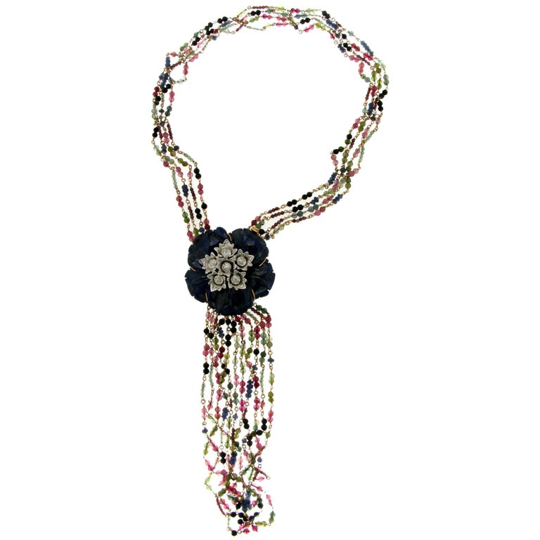 Flower Lapis Gold Diamonds Tourmaline Drop Necklace