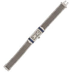 Tiffany & Co. Platinum Diamond Sapphire Manual Bracelet Wristwatch