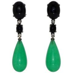 Jade, Black Agate and White Diamonds on Black Gold Chandelier Earrings