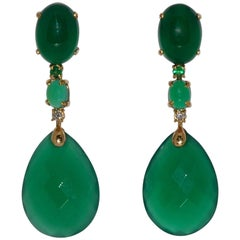 Green Agate, Emerald and White Diamond on Yellow Gold Chandelier Earrings