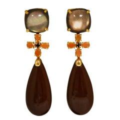 Ialino, Quartz, Peach Moonstone on Yellow Gold Chandelier Earrings