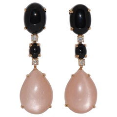 Peach Moonstone, Black Agate and Diamond Yellow Gold Chandelier Earrings