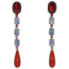 Coral, Garnet, Amethyst and Ruby on Yellow Gold Chandelier Earrings