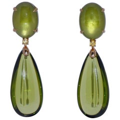 Hydrothermal Olive Quartz and Yellow Sapphire Rose Gold Chandelier Earrings