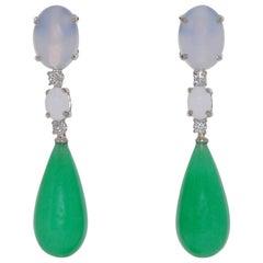 Jade, Diamonds and  Chalcedony White Gold Chandelier Earrings