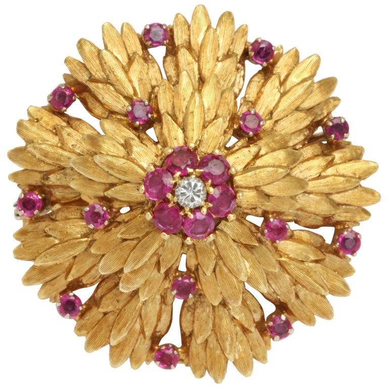 Ruby and Diamond Wreath Pin