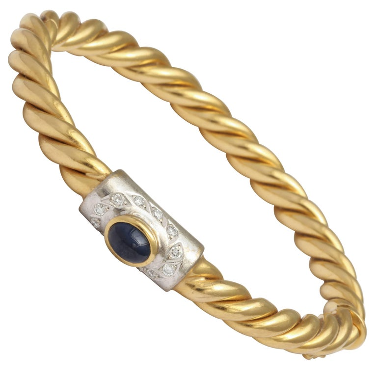 Center Cabochon Sapphire and Diamond Yellow Gold Bangle 1