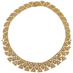 Woven Yellow Gold and Diamond Collar