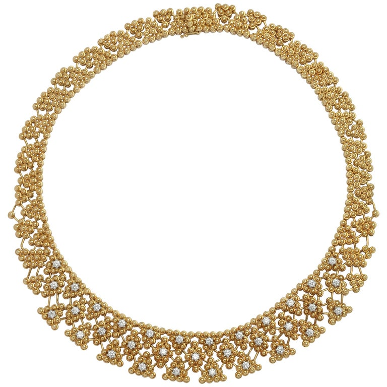 Woven Yellow Gold and Diamond Collar For Sale