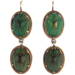 Pair of Antique Scarab Beetle Earrings