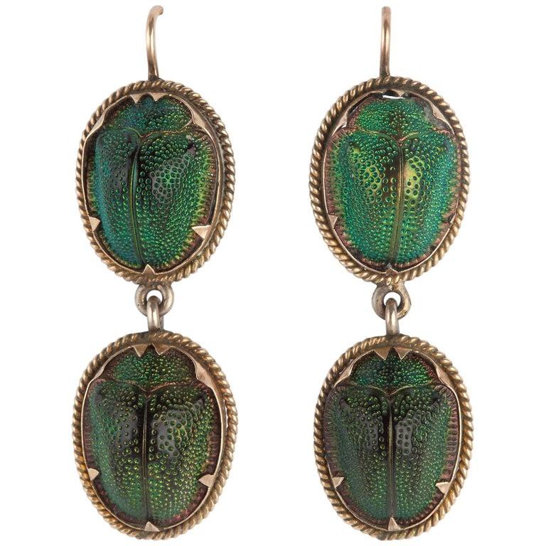 Pair of Antique Scarab Beetle Earrings