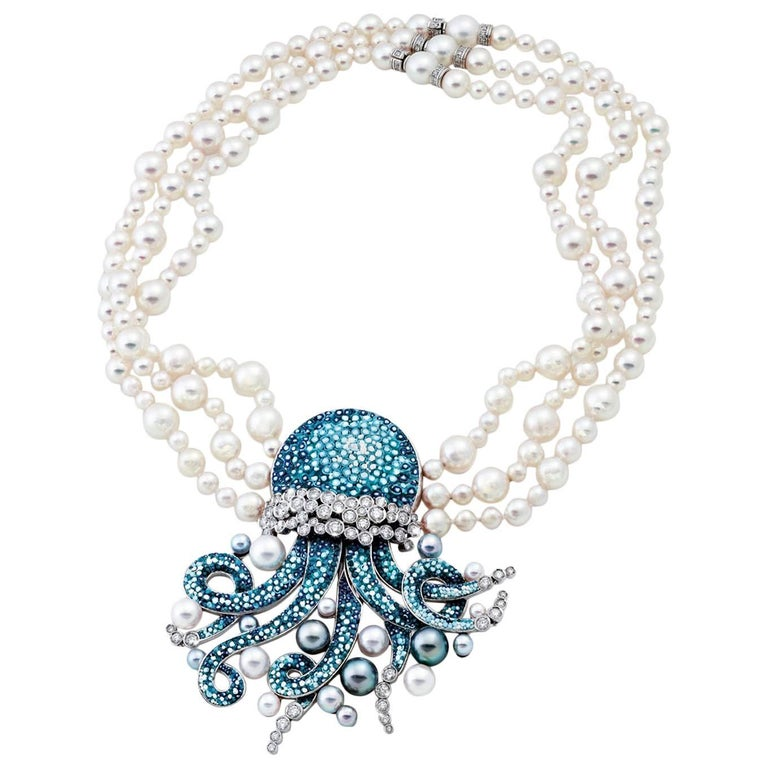 Pearls Diamonds Blue White Gold Micromosaic Bead Necklace For Sale