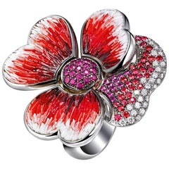 Stylish Ring White Gold White Diamonds Ruby Sapphires Decorated Micromosaic