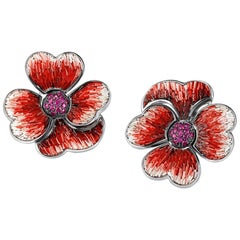 Pink Sapphires Micromosaic Flower Earrings