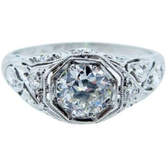 Art Deco Platinum Diamond Ring Dated 1927