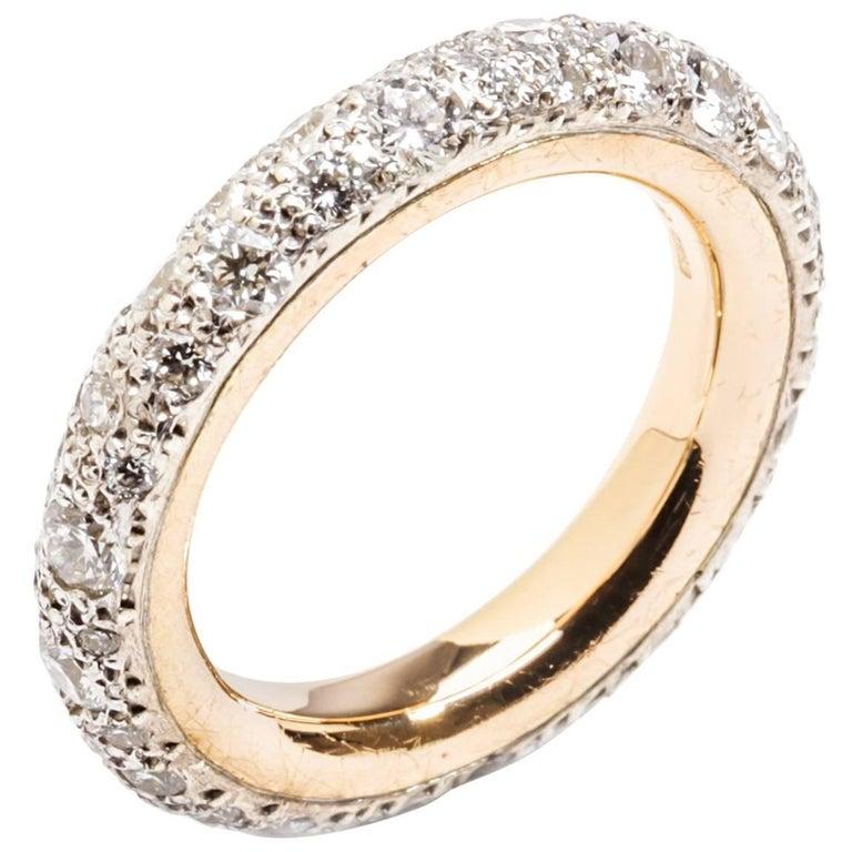 Pomellato Sabbia Collection Ring 18 Karat Rose Gold 1.84 Carat Diamonds