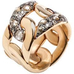 Pomellato Sabbia Collection Ring 18K Rose Gold 1.04 Carat Brown Cognac Diamonds
