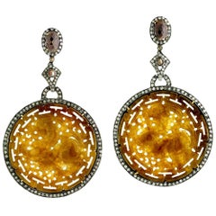 Round Carved Jade Earrings with Diamonds