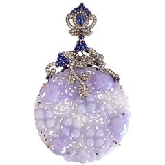 Lavender Jade Pendant with Diamonds and Sapphire