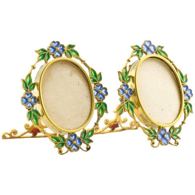 Pair of Miniature Art Nouveau Silvergilt and Plique-à-Jour Enamel Frames, Scheid For Sale