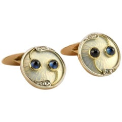 Antique Imperial Russia Gold Diamond Sapphire Transparent Enamel Cufflinks