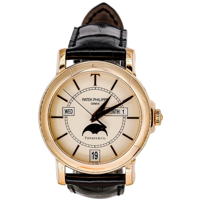 Patek Philippe Tiffany & Co. Rose Gold T150 Moonphase Automatic Wristwatch For Sale
