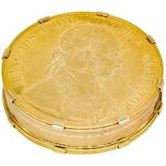 Bulgari Large Gold Austrian Coin Pill Box