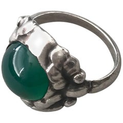 Georg Jensen .830 Silver and Chrysophase Ring, No. 11A