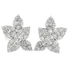 3.80 Carat White Diamond Flower Cluster Earrings, Harry Winston Style