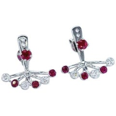Diamonds and Rubies Fan Earrings, EGL Certified