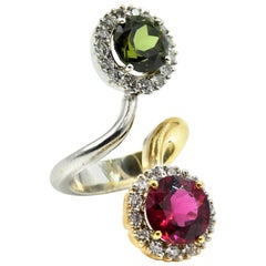 Two-Tone Round Brilliant 2.90Ct Pink and 2.20Ct Green Tourmaline Cocktail Ring