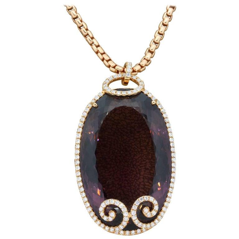 Large Amethyst Diamond Gold Pendant Necklace