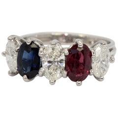 Five-Stone Platinum Ring Ruby, Sapphire Diamond 3.07 Carat