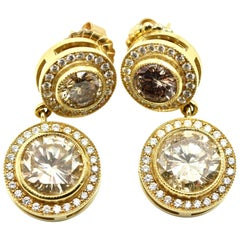 18 Karat Yellow Gold and 10.99 Carat Diamond Dangle Earrings