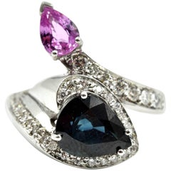 White Gold Pear Cut Blue and Pink Sapphire with Diamond Mount Cocktail Ring