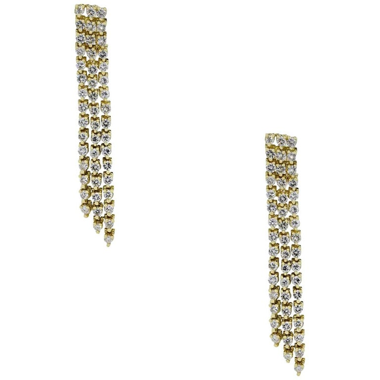 3.20 Carat Total Diamond Dangle Earrings