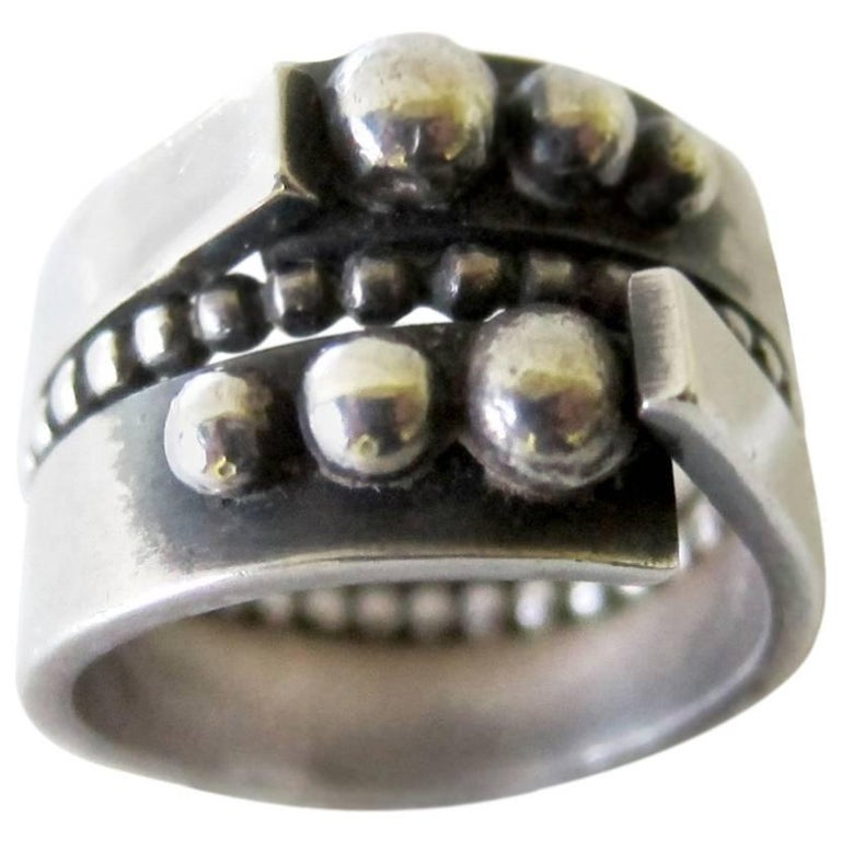 James Parker Sterling Silver San Diego Modernist Ring For Sale