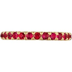 Marisa Perry Micro Pave Ruby Eternity Band in Yellow Gold