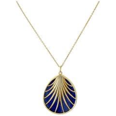 Tiffany & Co. Villa Poloma Palm Lapis Gold Necklace