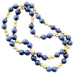 Vintage Tiffany & Co. Lapis Lazuli Beaded Gold Necklace