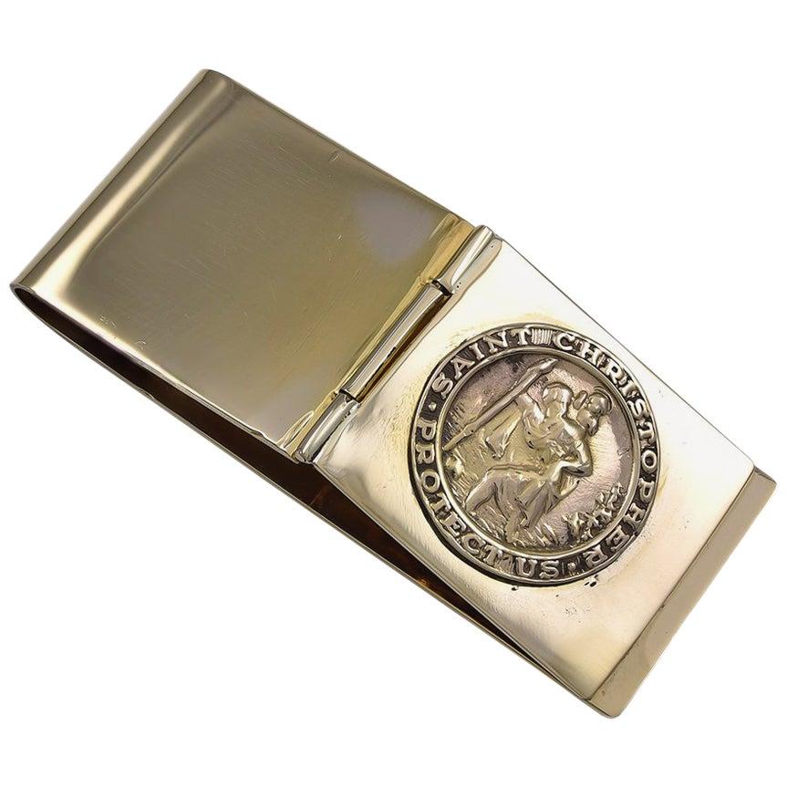 Gold St. Christopher's Money Clip