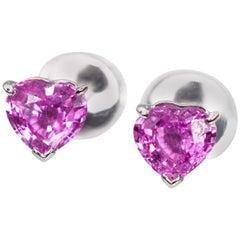 Cartier Pink Sapphire Heart Shape Earrings 18 Karat White Gold