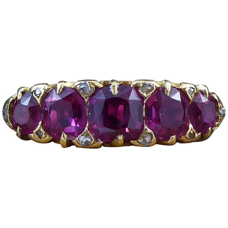 Victorian 2.95 Carat Cushion Cut Ruby and Rose Cut Diamond Ring