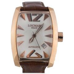 Locman Rose Gold Large Size Tonneau-Shape Panorama Automatic Wristwatch