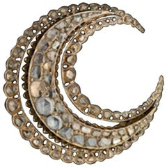 Antique Rose Cut Diamond Gold Crescent Brooch