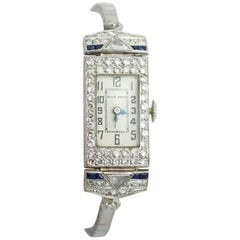 White Gold Platinum Diamond Sapphire Cocktail Wristwatch, 1930s