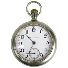 Antique Open Face Silver Hamilton Pocket Watch with Display