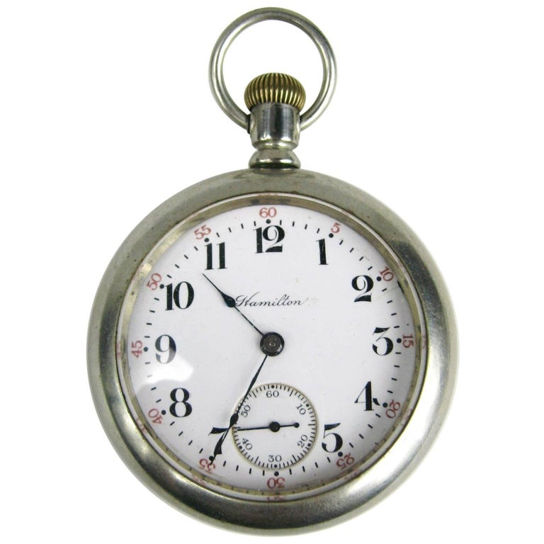 a967c34f6 Antique Open Face Silver Hamilton Pocket Watch with Display For Sale ...
